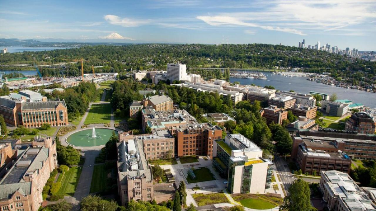 Aerial view of University of Washington in Seattle