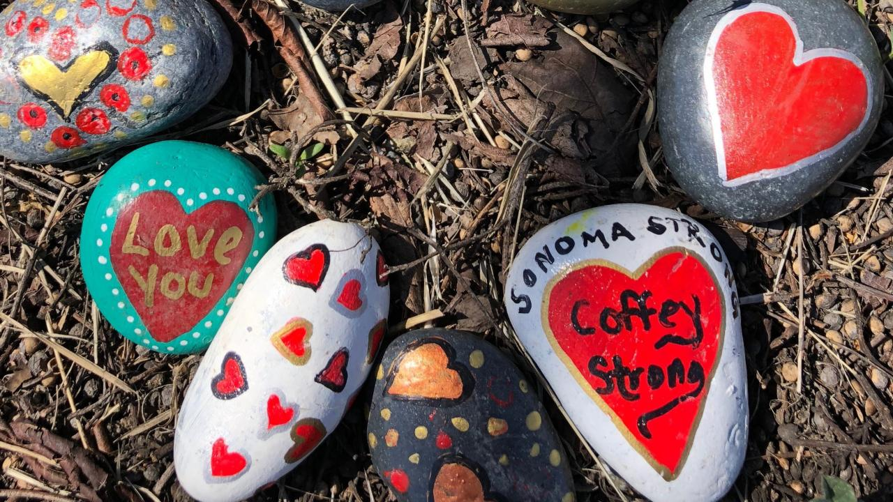 Rocks painted with messages of hope from Coffey Park
